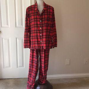 J. Crew Red Plaid Cotton Flannel Pajamas SZ MED